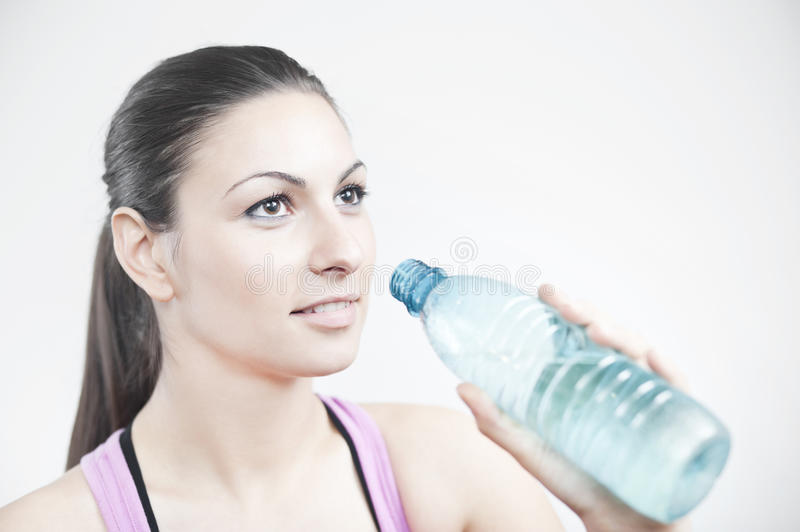 Girl Prepare To Drink Water Stock Photos