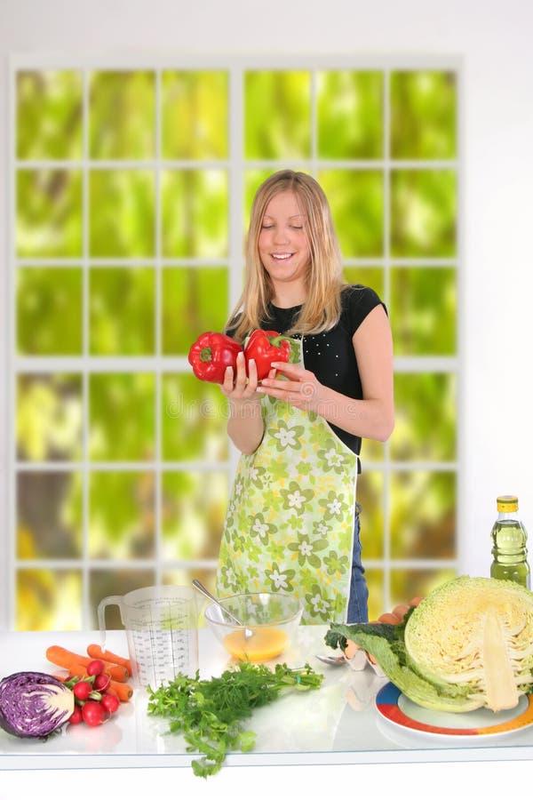 Girl Preparing Food royalty free stock images
