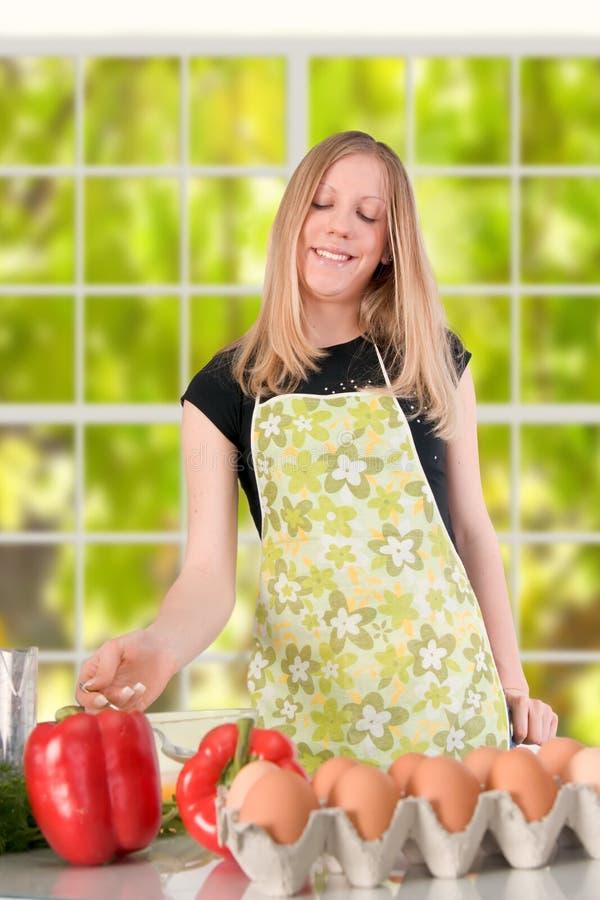 Girl Preparing Food stock images