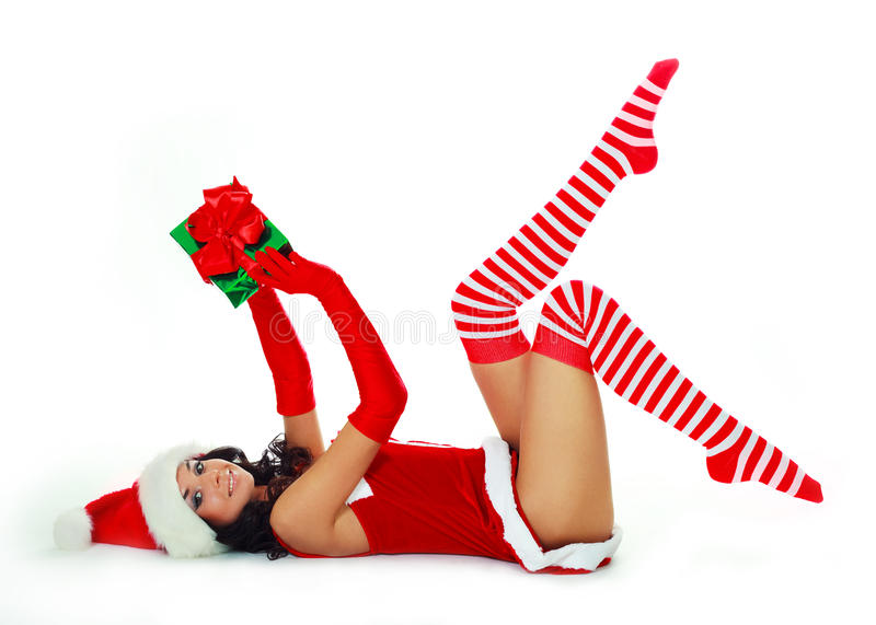 Girl With A Present Stock Photography