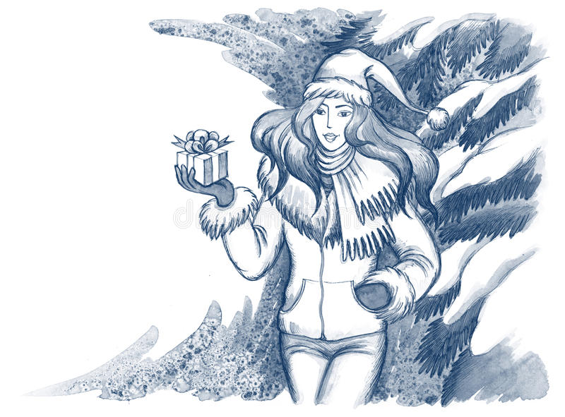 Download Girl with present stock illustration. Image of cold, christmas - 22261585