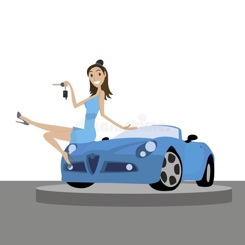 The girl in the presentation of the car stock illustration