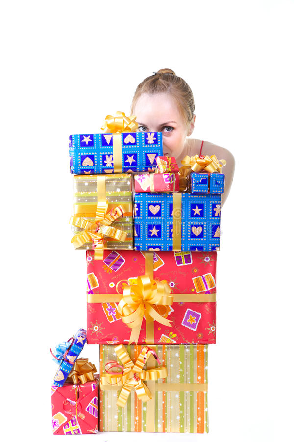 Download Girl with presents stock photo. Image of lady, dress - 17160080