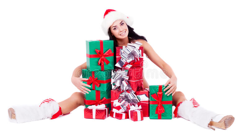 Download Girl with presents stock image. Image of santa, embrace - 21728531