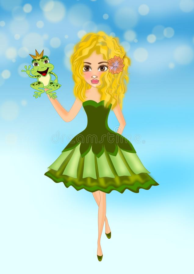 Girl and prince frog vector illustration