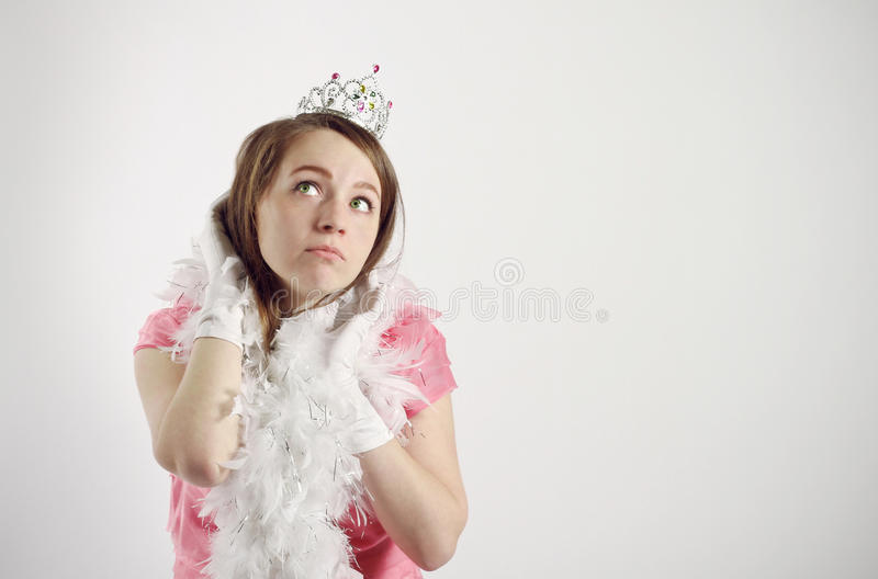 Girl in princess costume. pink royalty free stock photography