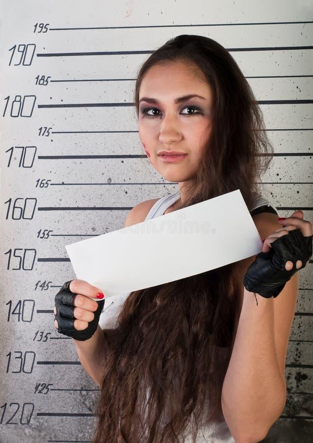 Girl in prison stock photo