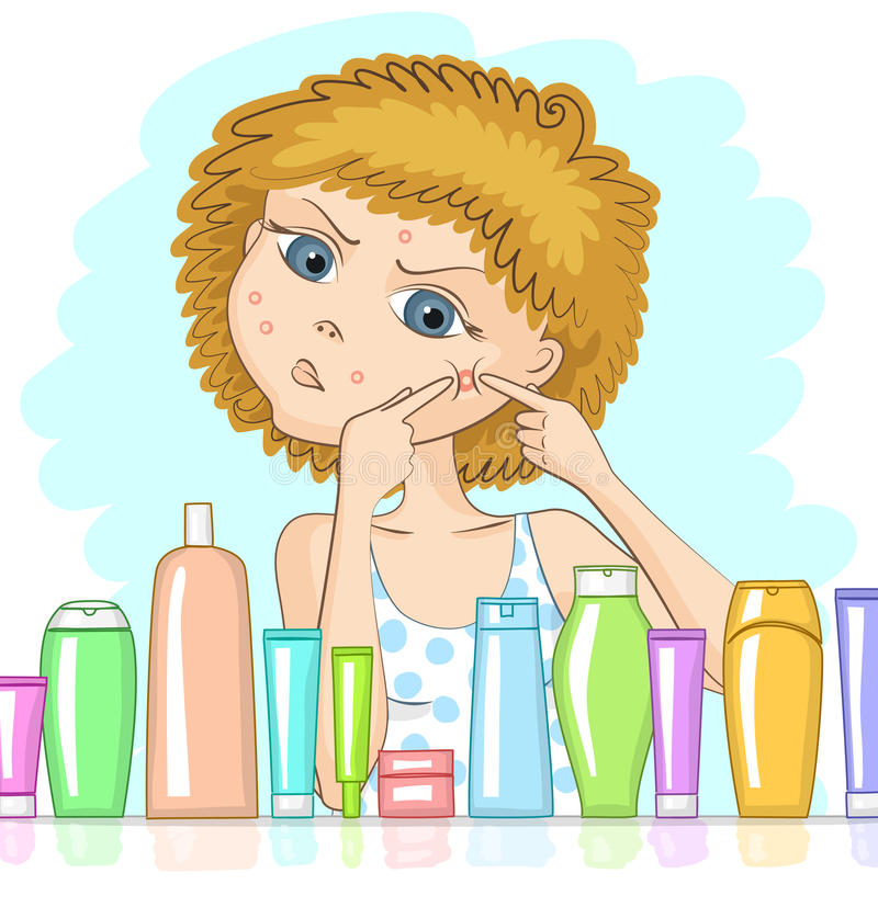 Girl with problem skin. And with displeased face is squeezing out big pimple at her cheek. Various cosmetic products in front of her. Skin care and beauty
