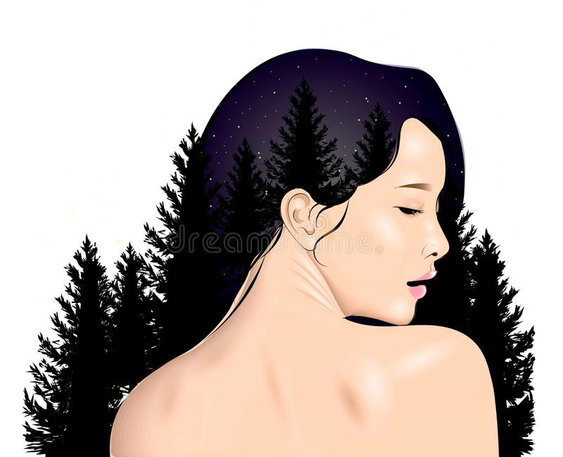 Girl in profile with landscape royalty free illustration