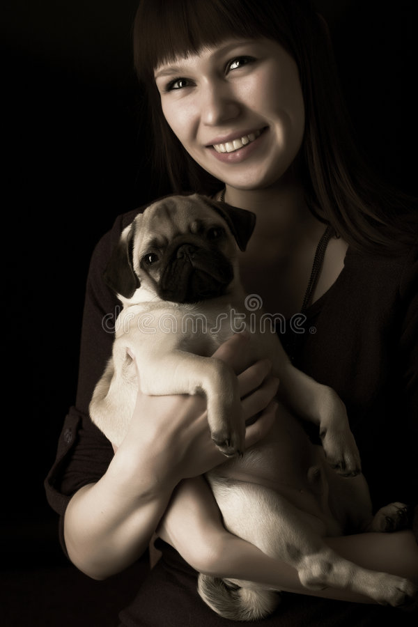 Download Girl and pug stock image. Image of females, brown, family - 7894333