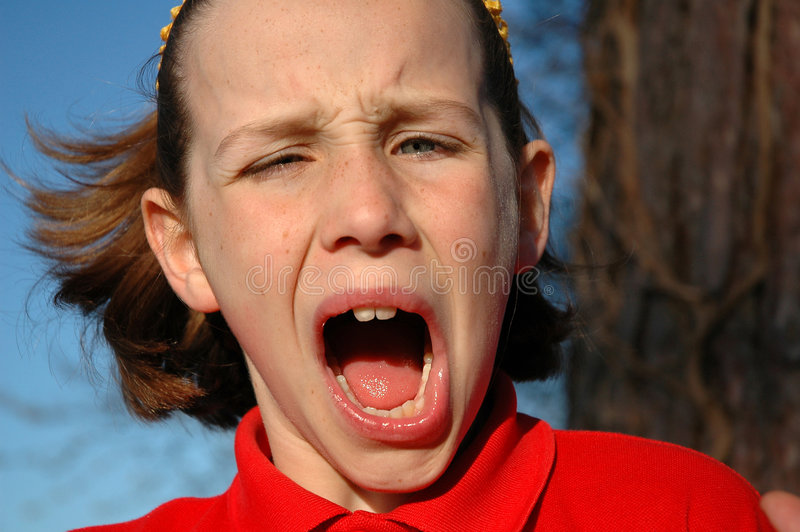 Girl pulling a funny face. Close-up humorous portrait of girl, nikon D70 stock photo