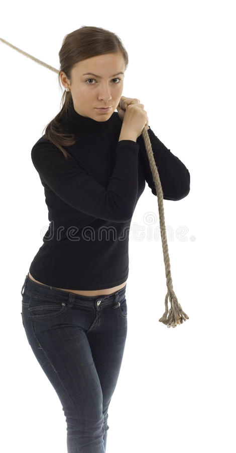 Download Girl Pulling Grey Rope, Tug-of-war Stock Photos - Image: 13106883