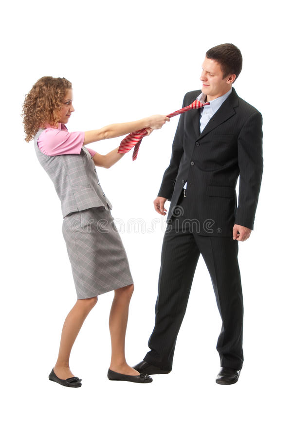 Download Girl pulls a man in a tie stock photo. Image of female - 11998294