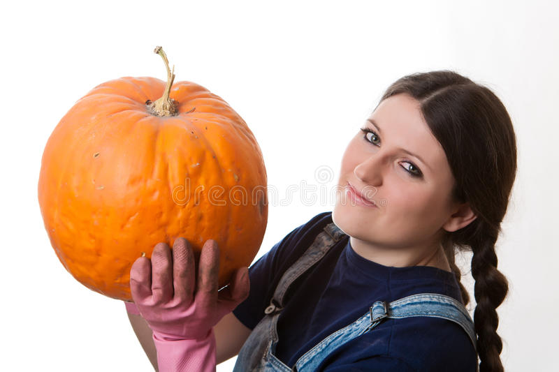Download Girl With Pumpkin Royalty Free Stock Images - Image: 17728409