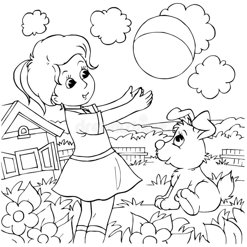 Download Girl and pup stock illustration. Image of puppy, outline - 14555653