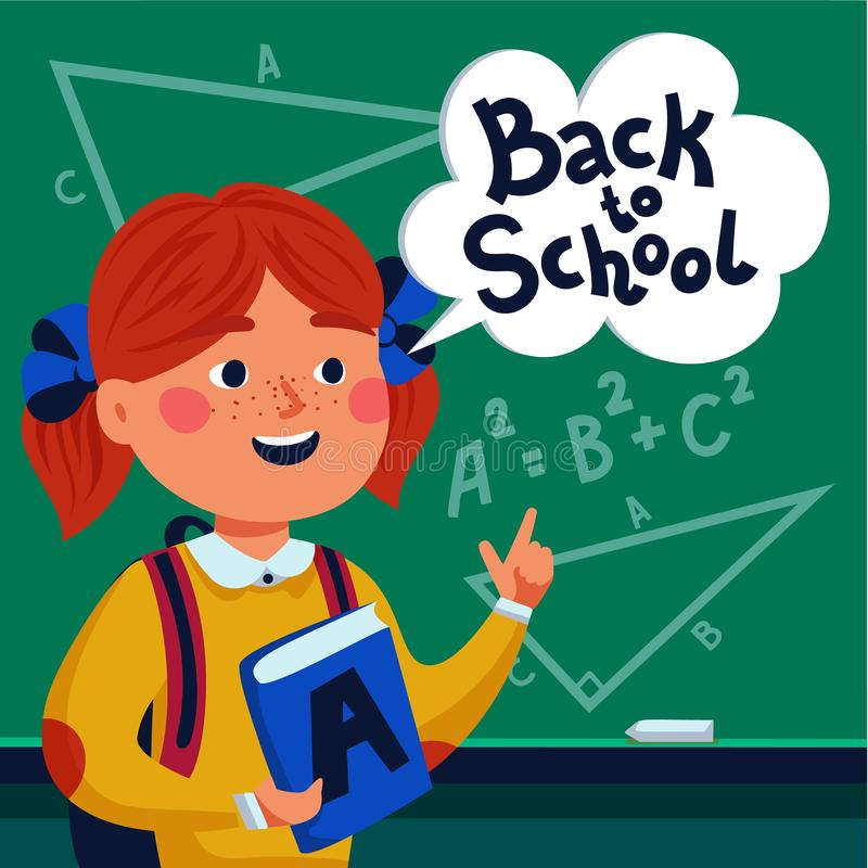 Girl pupil in front of blackboard. Happy child holding book and speech bubble with back to school text. Flat style royalty free illustration