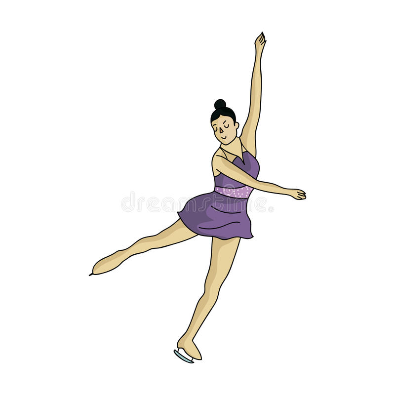 Girl in purple dress dancing on skates on ice.Athlete figure skaters.Olympic sports single icon in cartoon style vector royalty free illustration