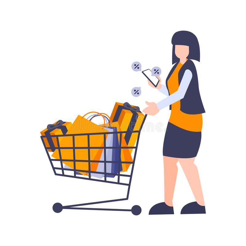 Girl pushing shopping trolleys. Woman enjoy shop during discount and promo with Bag and gift. Vector illustration flat design stock illustration
