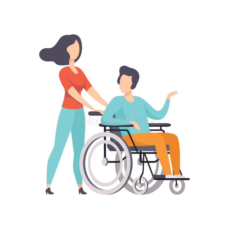 Girl pushing wheelchair with disabled man, girl supporting her friend, handicapped person enjoying full life vector. Illustration isolated on a white background stock illustration