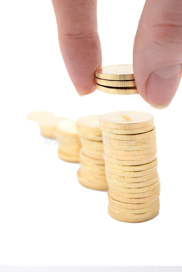The Girl Puts Coins Royalty Free Stock Photo