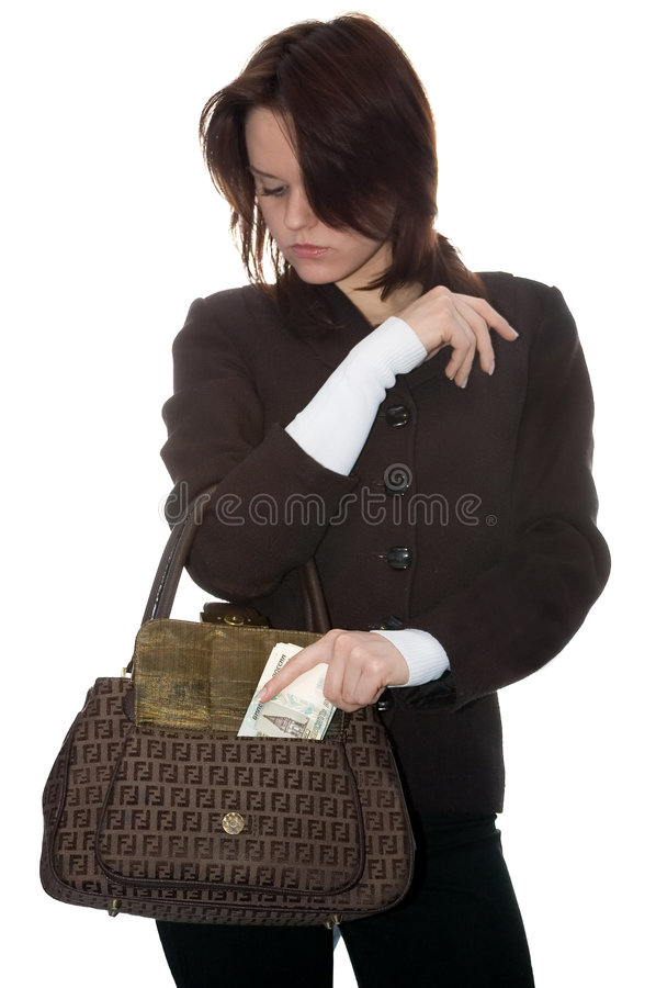 The Girl Puts Money In A Bag Stock Images
