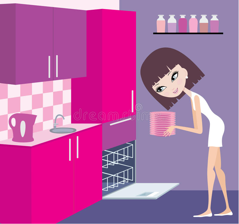 Girl puts plates in the dishwasher royalty free illustration
