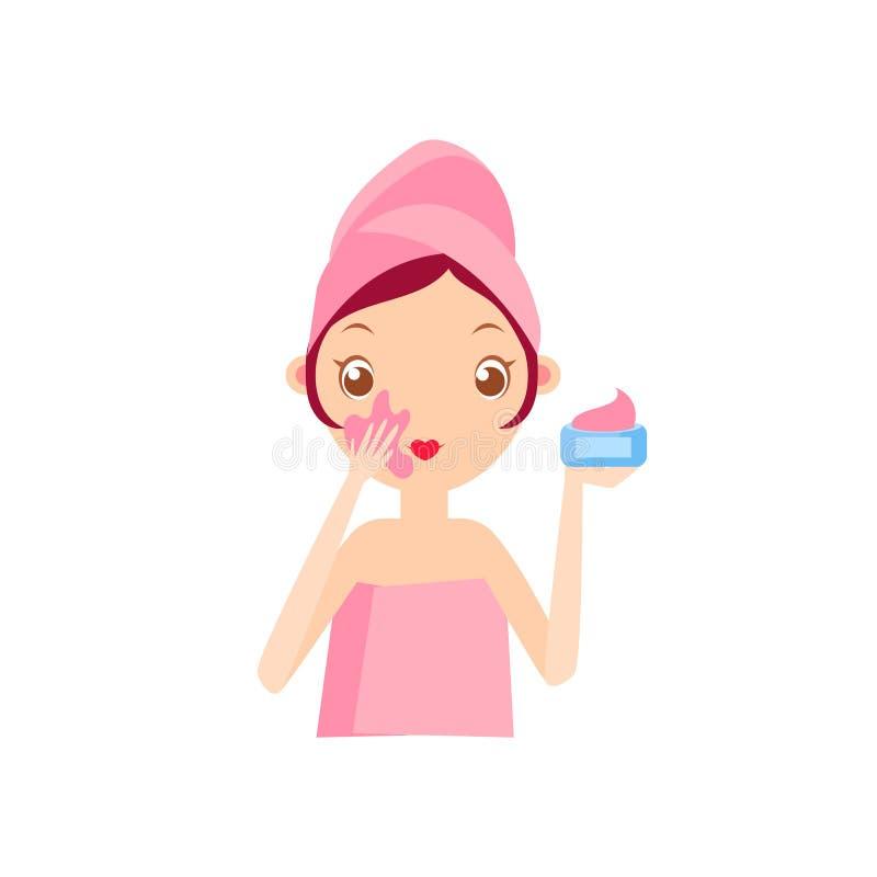 Girl Putting The Cream On. Portrait Flat Cartoon Simple Illustration In Sweet Gitly Style On White Background stock illustration