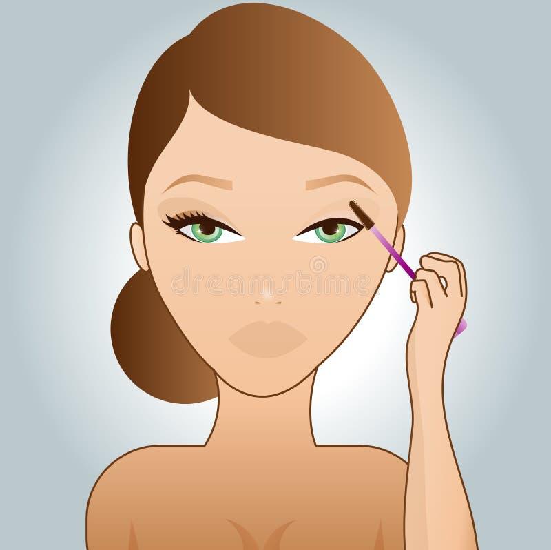 Girl putting on mascara stock illustration