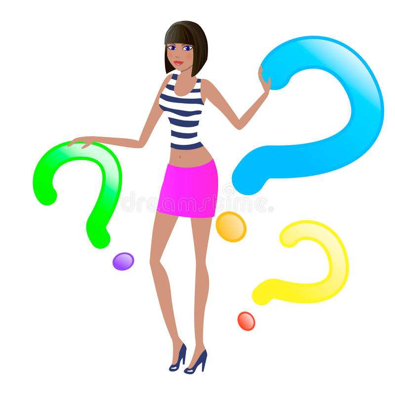 Girl And Question Stock Image
