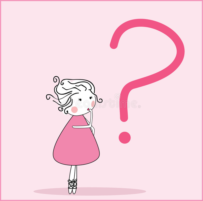 Girl with question stock illustration