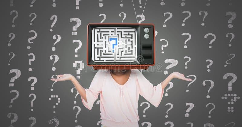 Girl question, tv head. Digital composite of Girl question, tv head royalty free illustration