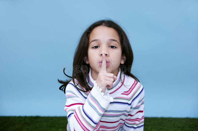 Download Girl Quiet Sign stock image. Image of quiet, outside, cute - 5121887