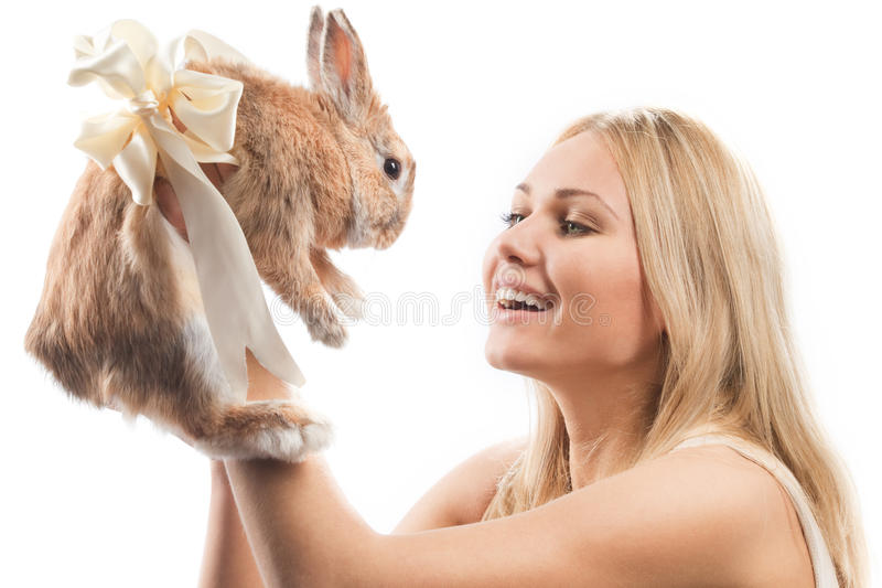 Girl With A Rabbit Royalty Free Stock Image