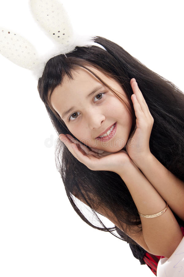 Download Girl with rabbits ears stock photo. Image of isoalted - 23996886