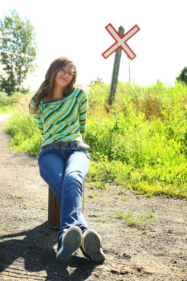 Download Girl at railway stock photo. Image of blond, happiness - 15579892