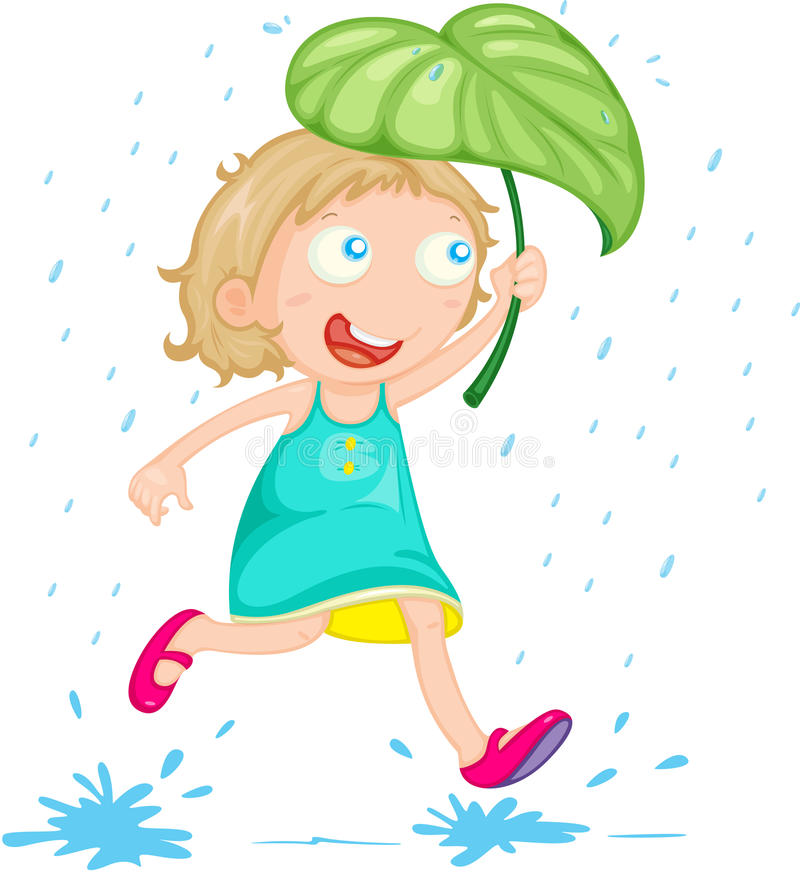 A Girl in Rain royalty free illustration
