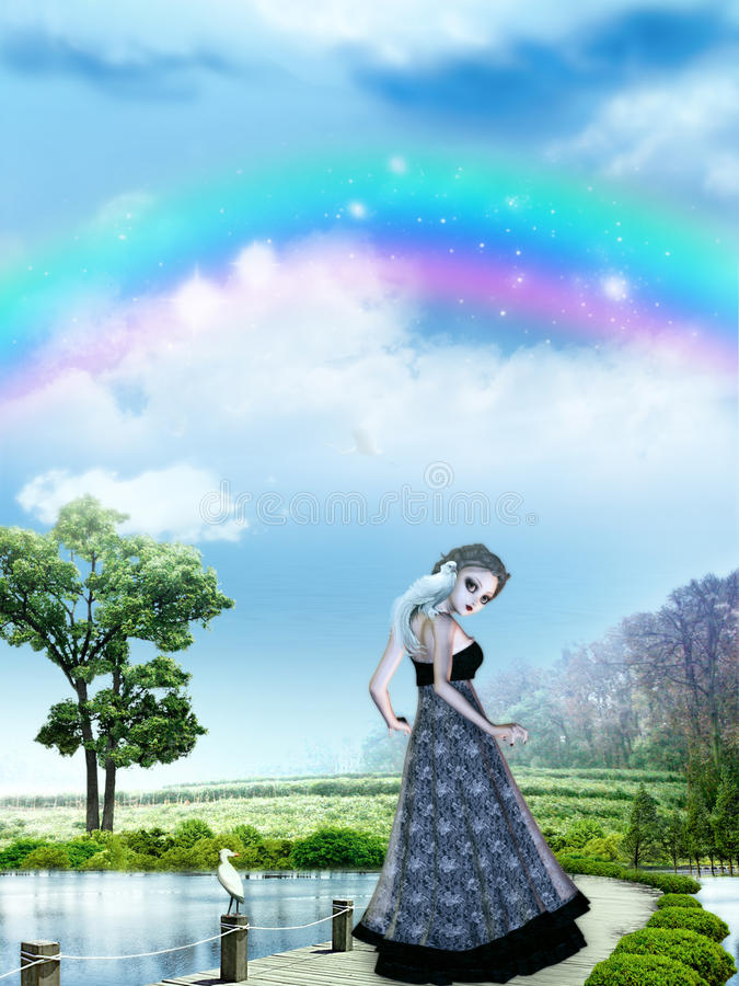 Download Girl with rainbow stock illustration. Illustration of poser - 25531278