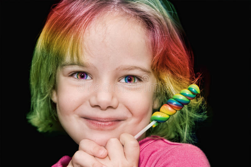 Download Girl with rainbow lollipop stock image. Image of lovely - 19417175