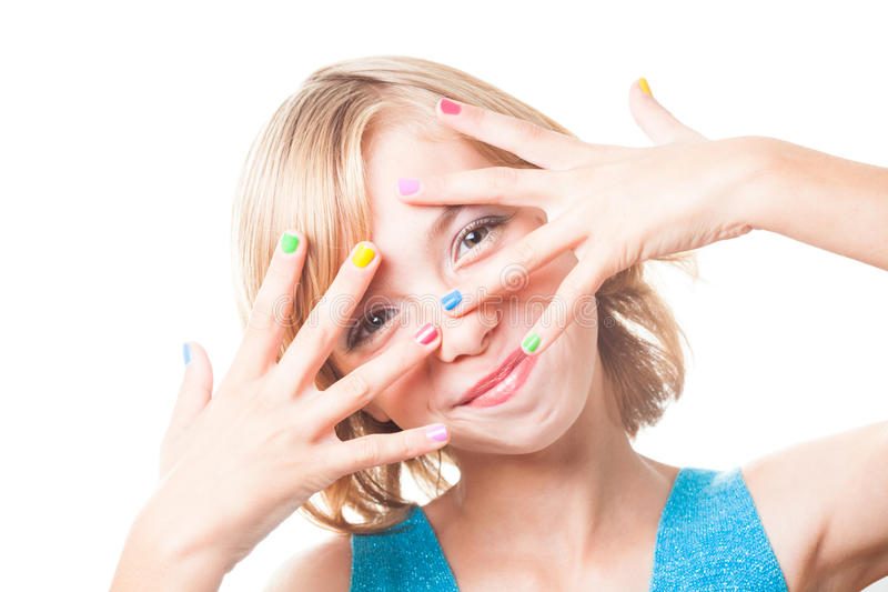 Girl with rainbow nails stock images