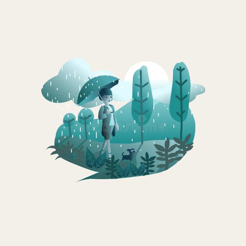 Girl and raining stock illustration