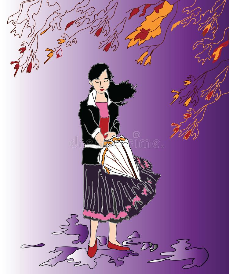 Girl in rainy weather. royalty free illustration