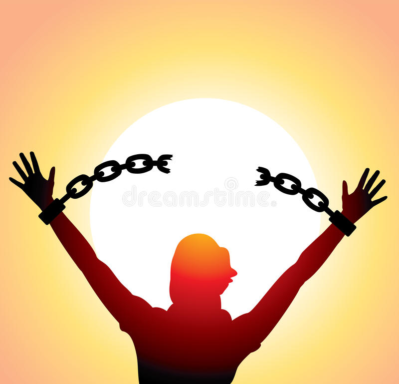 Girl with raised hands and broken chains stock illustration