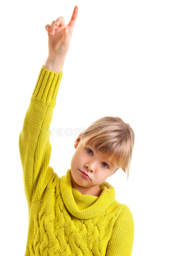Download Girl raising hand stock photo. Image of green, attention - 28514578