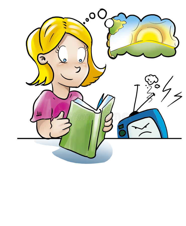 Download Girl reading book stock illustration. Illustration of homework - 10829266
