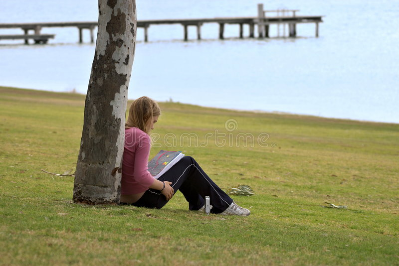 Download Girl Reading book stock image. Image of teenager, teen - 2001411