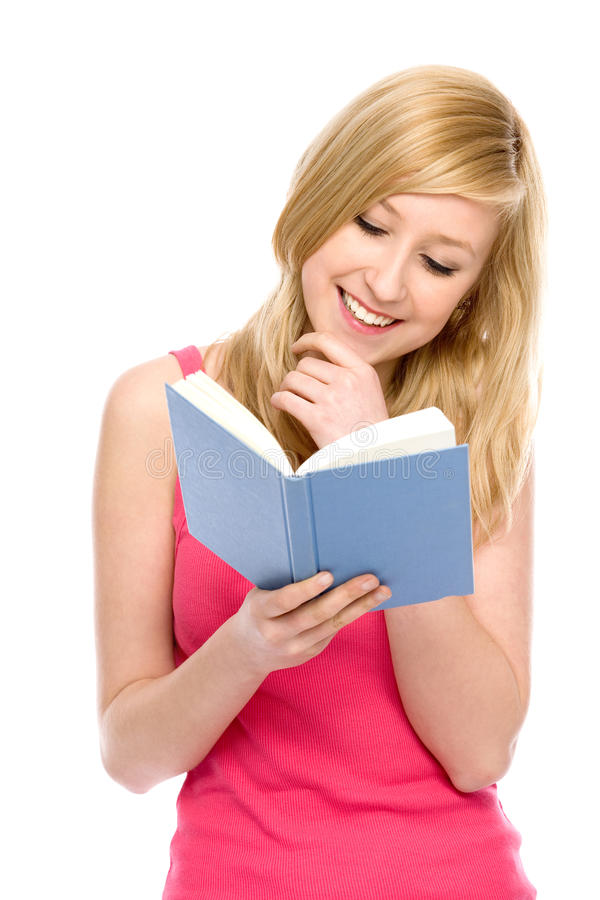 Download Girl reading book stock image. Image of cheerful, school - 20384203