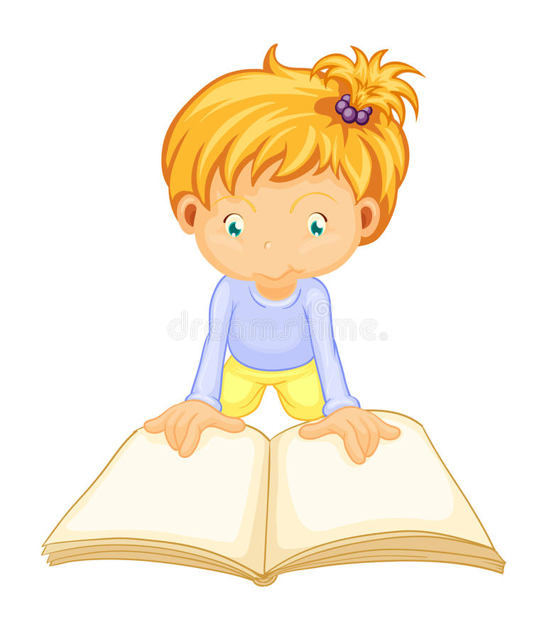 Download A girl reading book stock vector. Image of blonde, child - 26264422