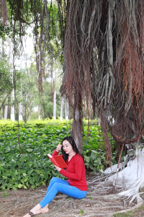 Girl reading the book. Blonde beautiful young woman with book sit under tree . Outdoor. Sunny day royalty free stock photos