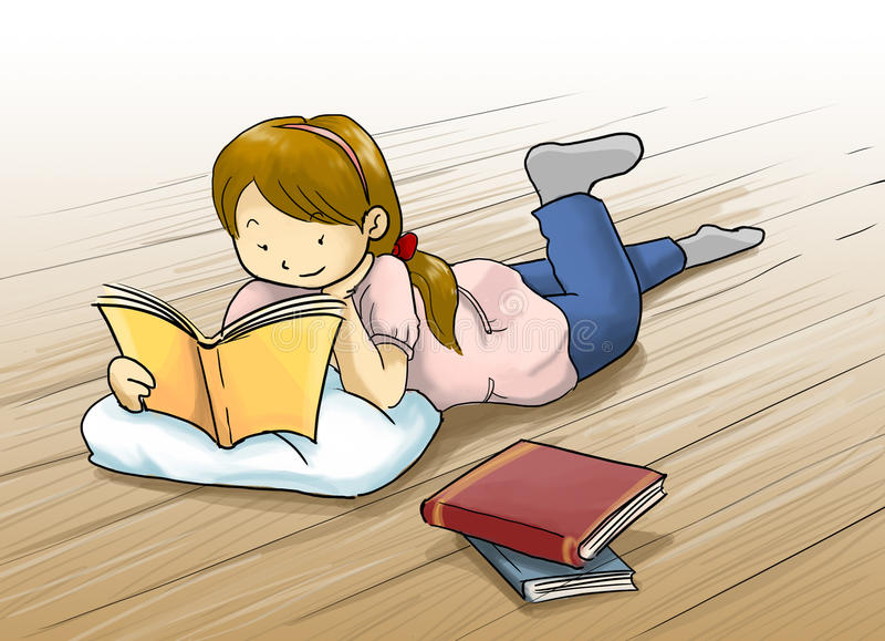 Download Girl Reading A Book Cartoon Illustration Stock Photo - Image: 32400520