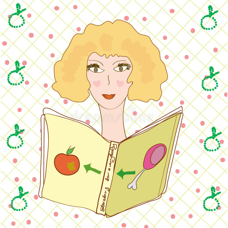 Download Girl Reading Book About Diet Stock Vector - Image: 12649641